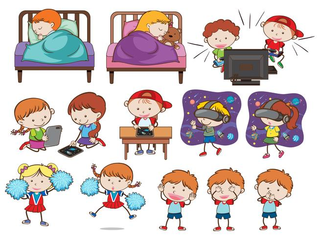 A set of doodle kids and activities
