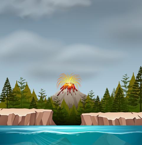 Een vulkaanuitbarstingscène