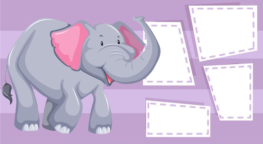 Marco de forma de elefante púrpura