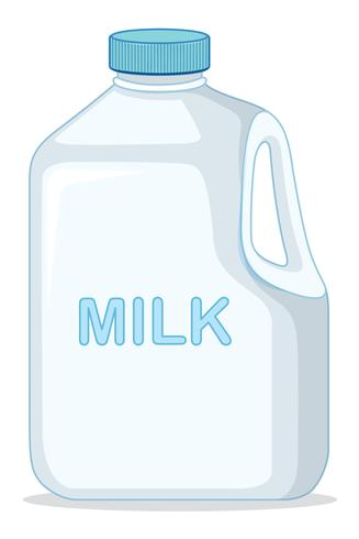Un recipiente de leche sobre fondo blanco