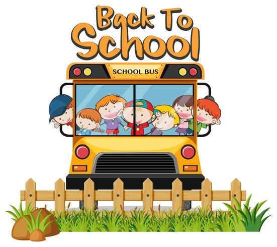Bambini in scuolabus su sfondo bianco
