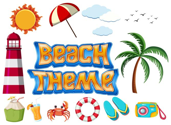 Set of Beach theme objects