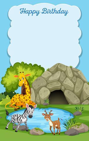 Wild Animals Happy Birthday Card Download Free Vectors Clipart