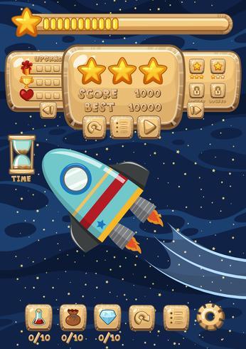 Plantilla de juego de un cohete espacial