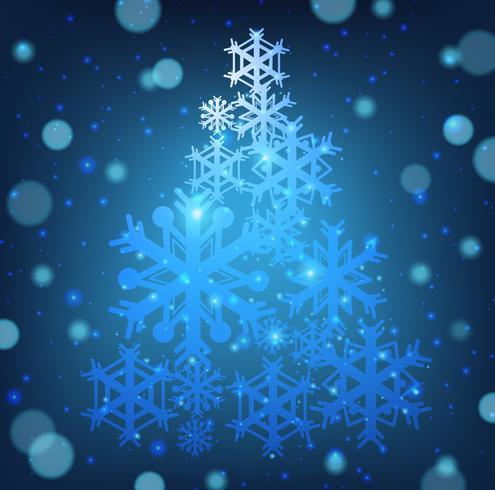 Julkort med snöflingor form av julgran