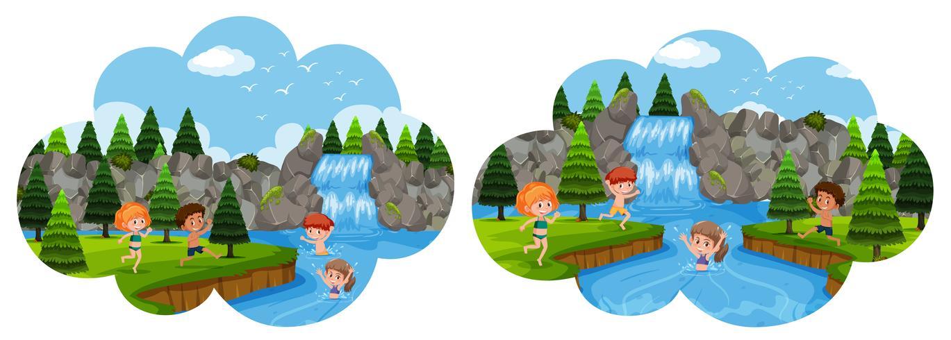 Kinder, die im Wasserfall Urlaub machen