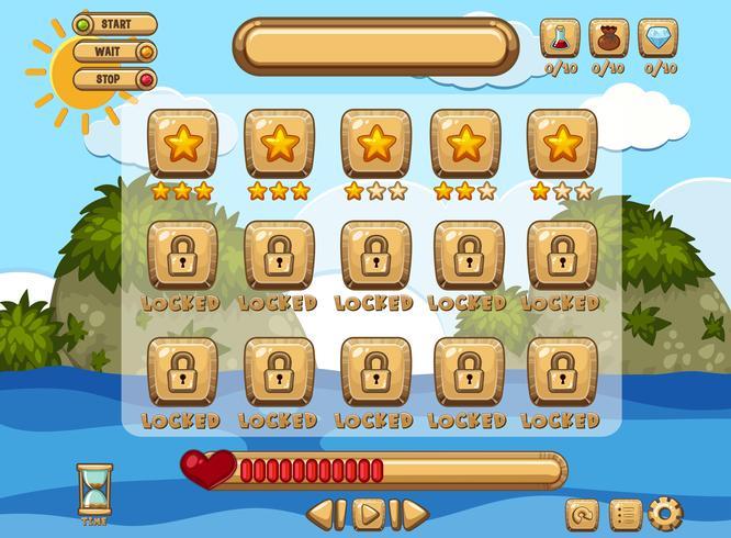 Plantilla de fondo de juego con página de océano y niveles