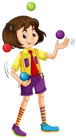 Een jongleerballen jong meisje vector