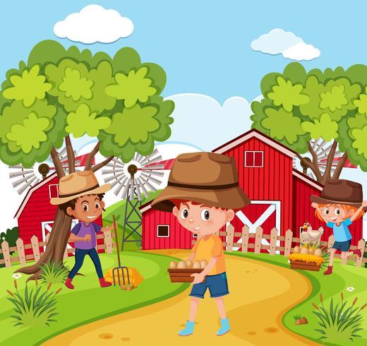 Niños en la granja de la naturaleza.