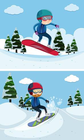 Zwei Szenen mit Leuten beim Snowboarden