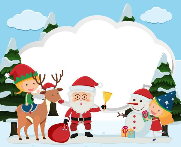 Border template with santa and kids