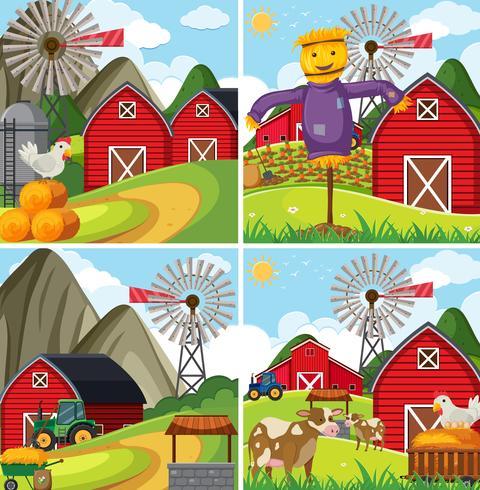 Cuatro escenas de granja con granero rojo y animales de granja.