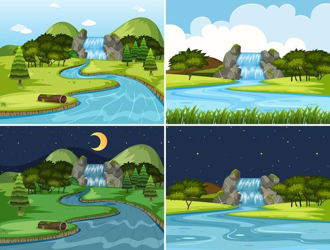 Conjunto de cenas de noite e dia de cachoeira