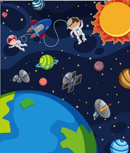 Astronauta en la escena espacial