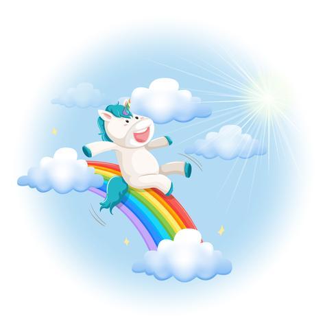 A happy unicorn slide on rainbow