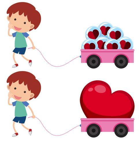 Jongen met roze wagens met hartvormen