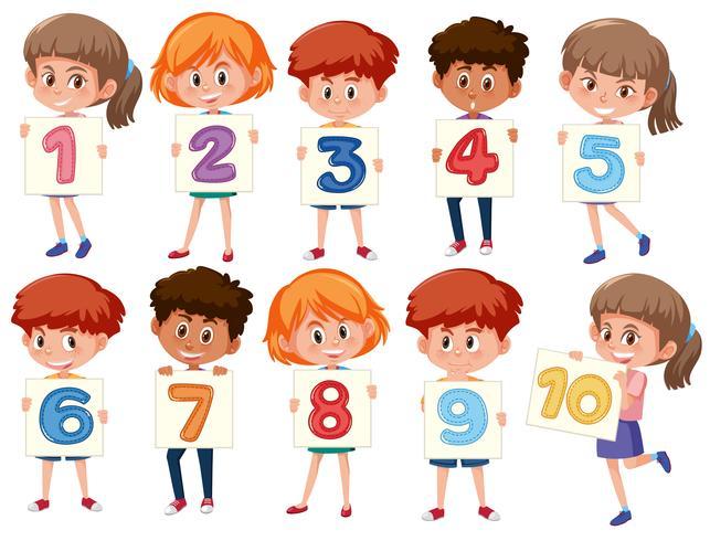Een reeks internationale kinderen die nummer houden