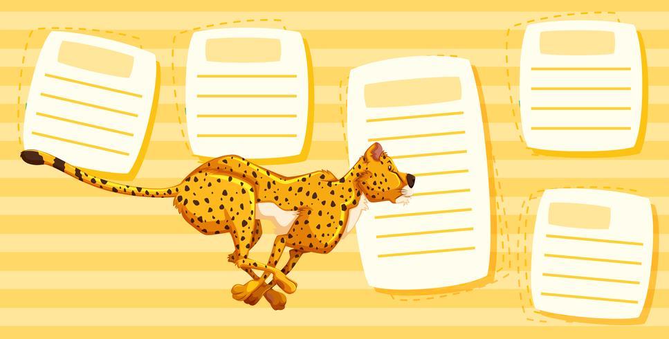 Cheetah corriendo en plantilla de nota