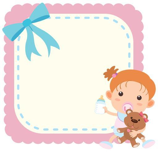 Grensmalplaatje met babymeisje en teddybear