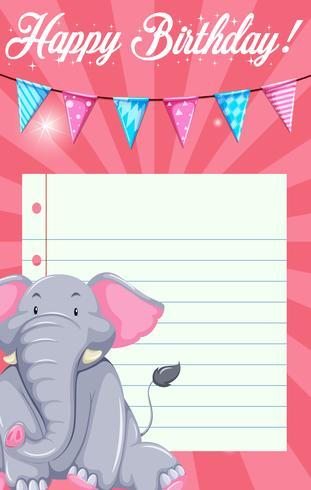 Elefante en plantilla de tarjeta
