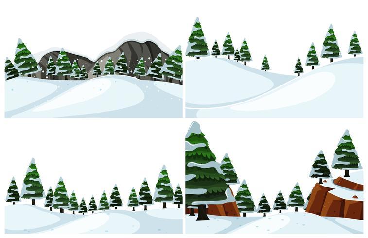 Conjunto de paisaje de invierno frío