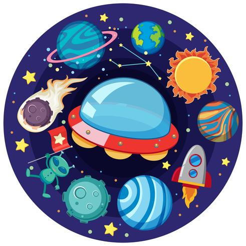 UFO and many planets in galaxy