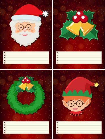 Vier Kerstmismalplaatje met santa en elf