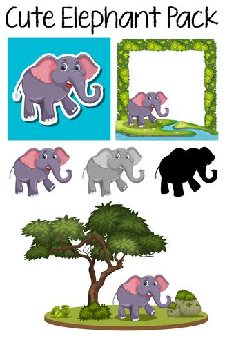 A pack of cute elephant
