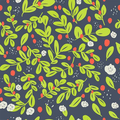 Transparente motif floral ditsy avec fleurs colorées lumineuses et feuilles sur fond noir dans un style folk naïf. Modèle d'été pour la mode imprime en vecteur.
