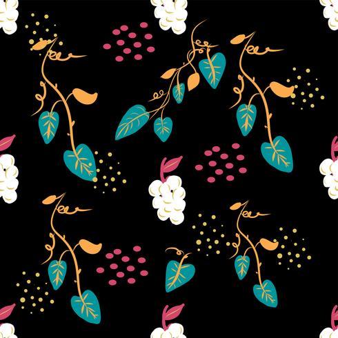 Modello floreale ditsy senza cuciture con i fiori e le foglie variopinti luminosi su fondo nero nello stile piega ingenuo. Modello di estate per stampe di moda in vettoriale.