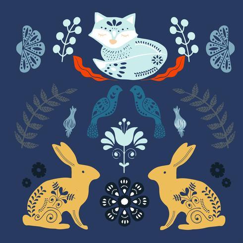 Skandinaviskt folkmönster med rävar och blommor