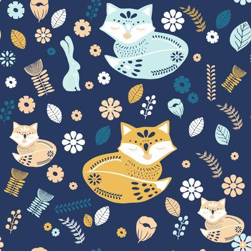 Patrón de arte popular escandinavo con zorros y flores