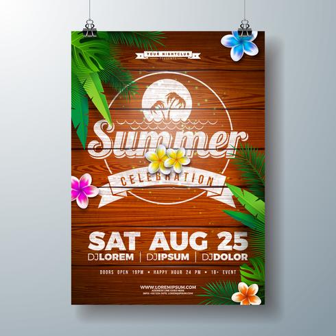 Vektor-Sommerfest-Flieger-Design mit Blume und tropischen Palmblättern auf Weinlese-Holz-Hintergrund. Sommerferien-Illustration mit exotischen Pflanzen