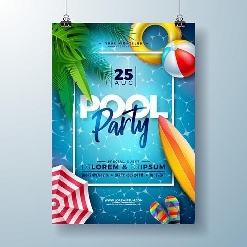 Plantilla del diseño del cartel de la fiesta en la piscina del verano con las hojas de palma, el agua, la pelota de playa y el flotador en fondo azul del paisaje del océano.