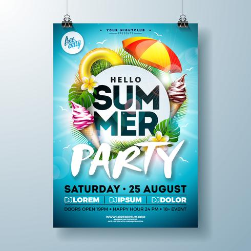 Vector Summer Party Flyer Design with Typography Letter, Sunshade and Ice Cream on Ocean Blue Background. Summer Vacation Holiday Illustration Template