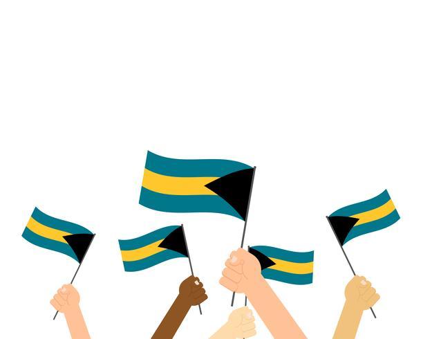 Vector el ejemplo de las manos que sostienen las banderas de Bahamas aisladas en el fondo blanco