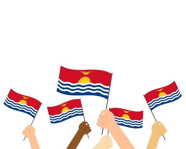 Ilustración vectorial de manos sosteniendo banderas Kiribati aisladas sobre fondo blanco
