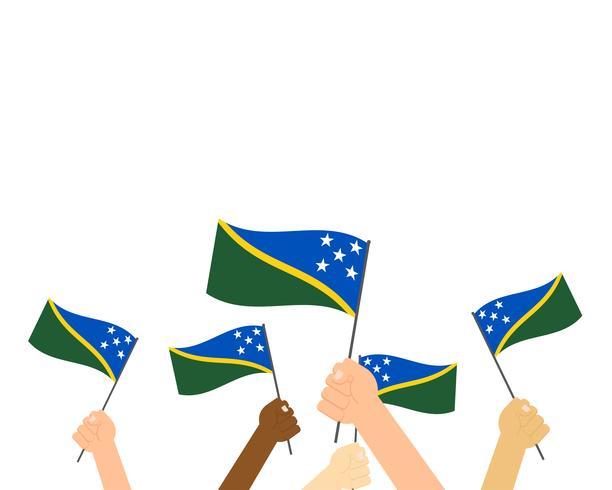 Vectorillustratie die van handen Solomon Islands-vlaggen houden die op witte achtergrond worden geïsoleerd