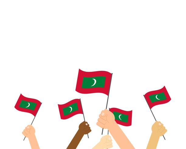 Vector illustration of hands holding Maldives flags isolated on white background