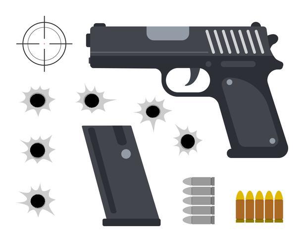 Vector l'illustrazione della pistola con i fori della pallottola e della pallottola su fondo bianco.