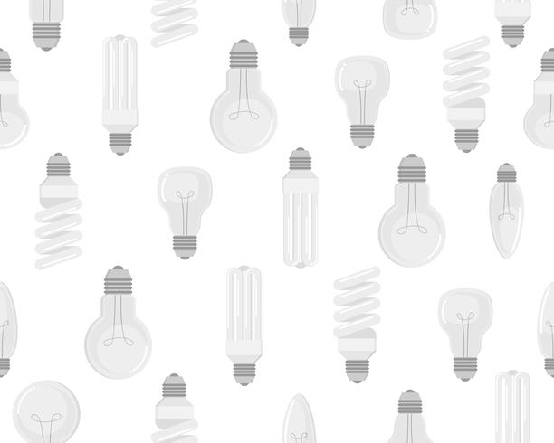 Seamless pattern of electric bulb vector set on white background - Vector illustration