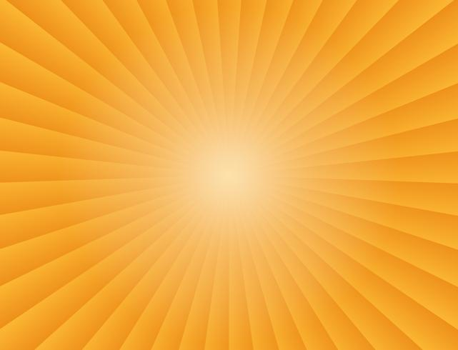 Abstracte zonnestralen gradiënt stralen in oranje achtergrond - vectorillustratie