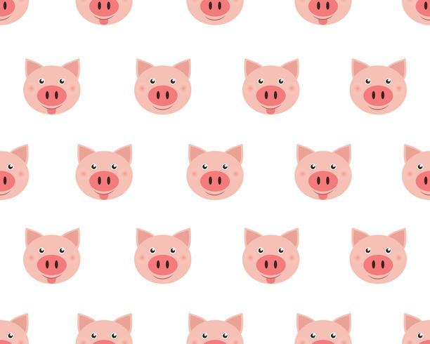 Vector el ejemplo de los cerdos lindos de la cara aislados en el fondo blanco.