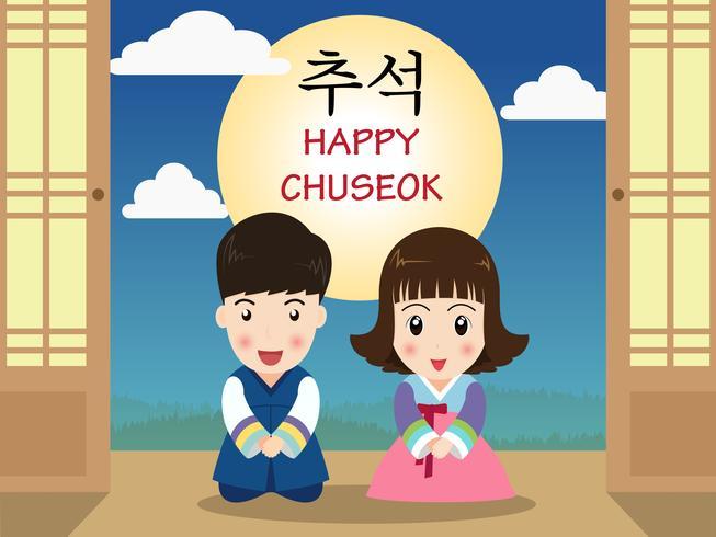Chuseok eller Hangawi (Koreansk Thanksgiving Day) - Söt tecknade barn i koreansk traditionell kostym