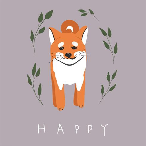 Cute Colorful Happy Shiba Inu Dog Smiling Isolated On White Background Side View Download Free Vectors Clipart Graphics Vector Art