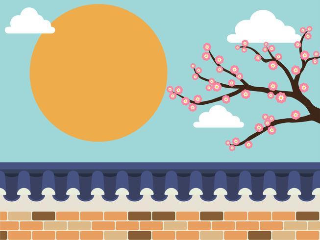 Japansk stil stenvägg staket med sakura träd på bakgrunden