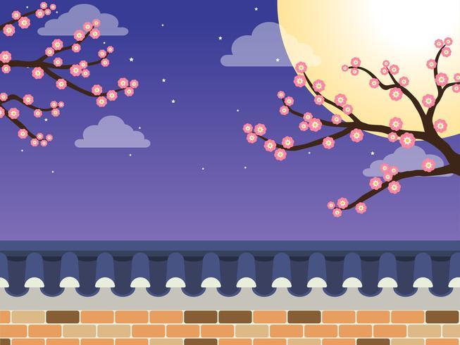 Mittlerer Autumn Festival (Chuseok) - koreanischer Artsteinwandzaun mit Ahornbaum und Vollmond auf Hintergrund