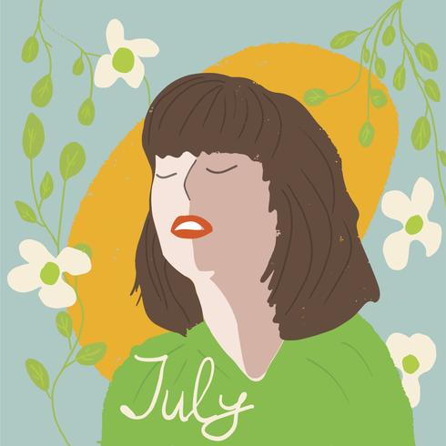 Retrato estilo niña moda joven con plantas ilustración vectorial