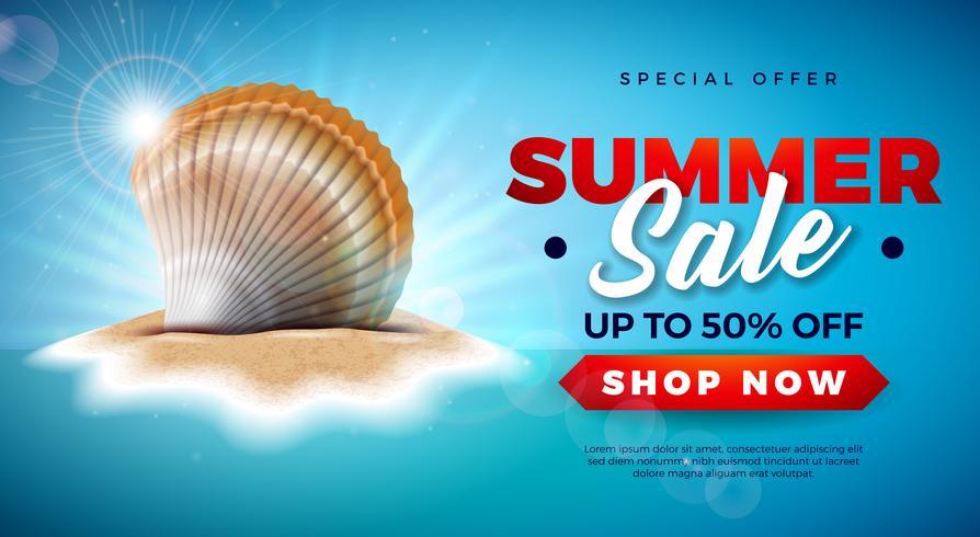 Diseño de la venta del verano con Shell en el fondo tropical de la isla. Vector Oferta Especial Ilustración con Blue Ocean Landscape para Cupón