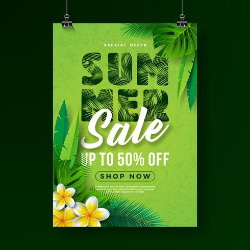 Summer Sale Poster Design Template with Flower and Exotic Leaves on Green Background. Tropical Floral Vector Illustration with Special Offer Typography for Coupon